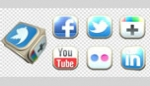 Social Network 3D Cube and Buttons
